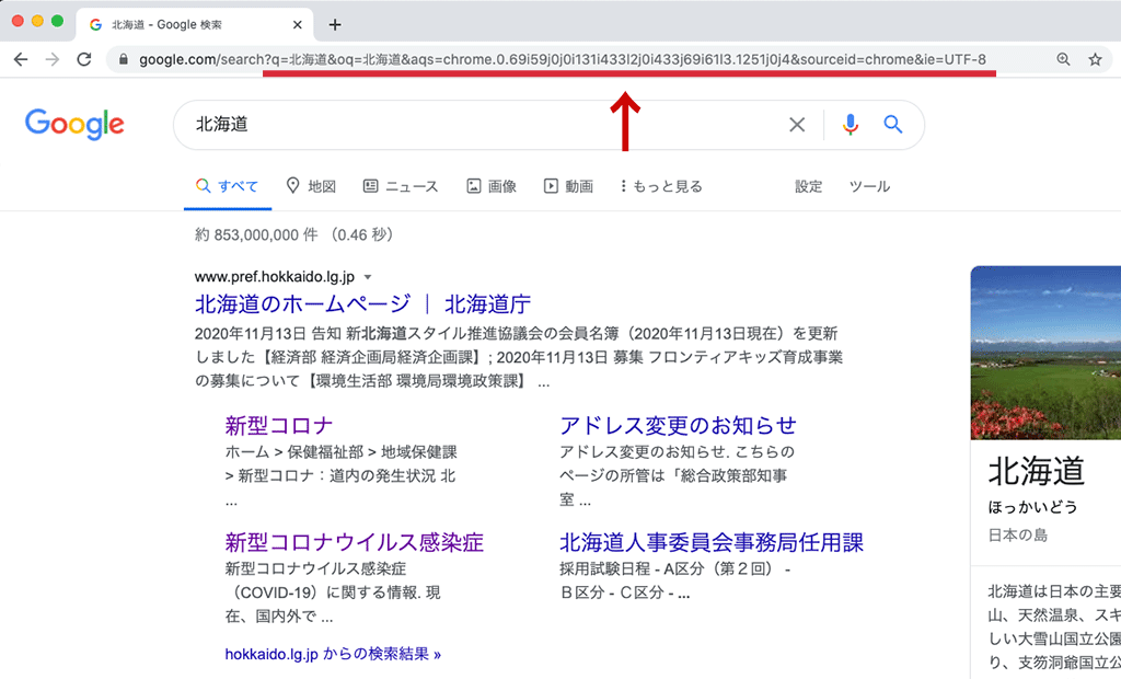 Googleを検索した状態のイメージ